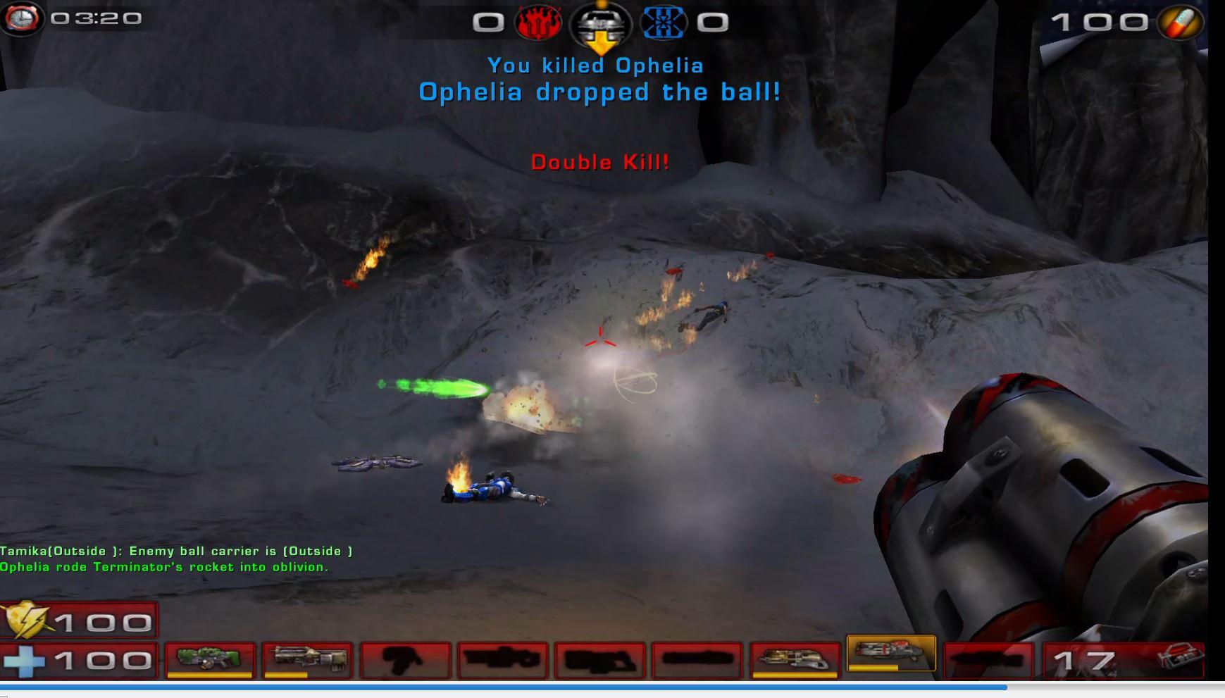 Unreal tournament 2004 Red Team Terminator vs Blue Godlike Bots Bombing Run Bifrost map.jpg